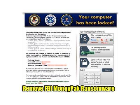 Remove FBI MoneyPak Ransomware