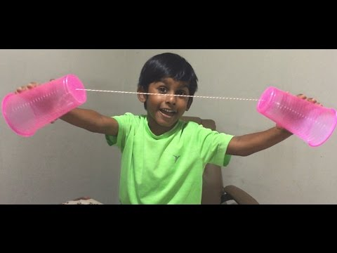 How to make a telephone with plastic cups - explained by a 5 Year Old kid