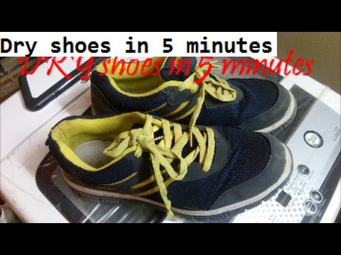 How to dry shoes in five minutes using a washing machine dryer? dry your shoes quickly/fast