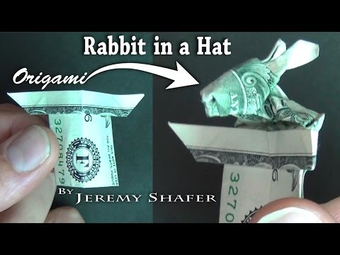 Origami $1 Rabbit in a Hat