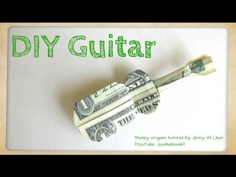 DIY How to Fold Money Origami Guitar - $1 One Dollar Guitar - Paper Guitar Paper Crafts