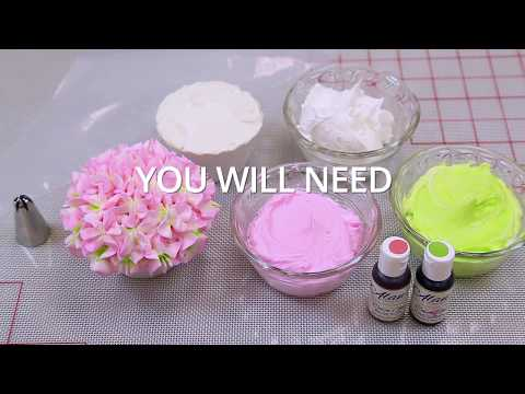 Striped Hydrangea Cupcakes -