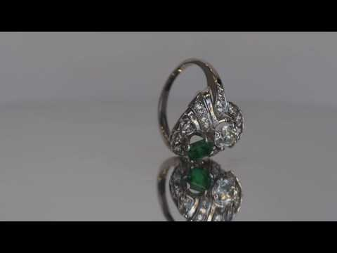 Antique 1930's Art Deco Diamond and Emerald 1.90ct tw Engagement Ring in 14K White Gold ATL #33B