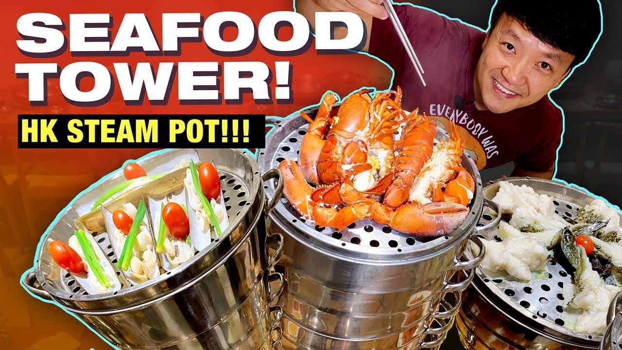 9 Layer SEAFOOD TOWER! Congee STEAM HOTPOT in Hong Kong