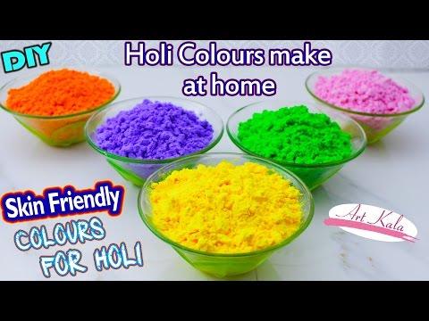 DIY : holi powder ( गुलाल ) Making tutorial for holi 2017 | 100 % natural Colour | Artkala 124