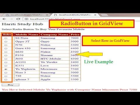 Select Row Using Radio Button in GridView Asp.Net | Hindi | Row Selection in GridView