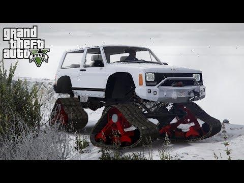 JEEP XJ SNOWHAWK! Jeep on Tracks Off-Roading! (GTA 5 PC Mods)