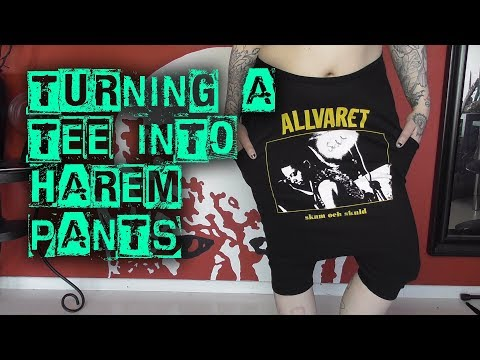 Turning a tee into harem pants