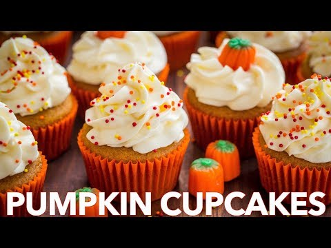 Easy Pumpkin Cupcakes with Whipped Cream Cheese Frosting