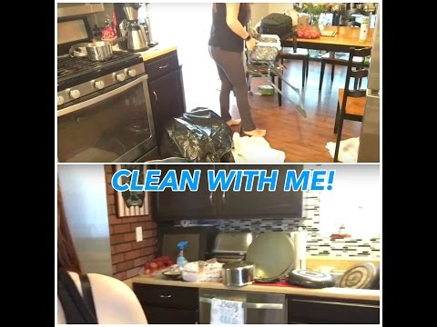 Clean with me - MESSY kitchen and living room!