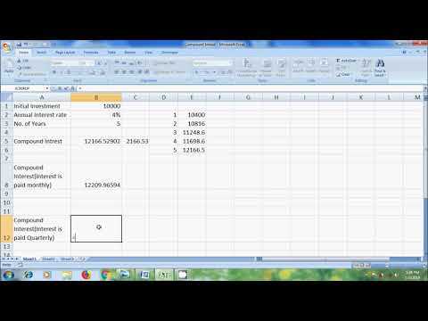 Excel 2007: how to calculate compound interest in excel