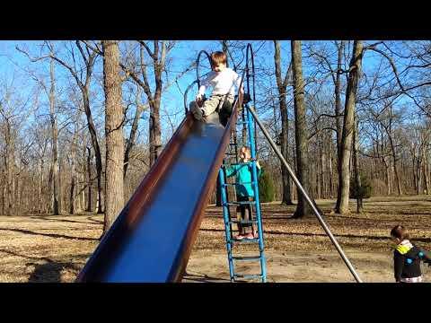 Kids on scary slide