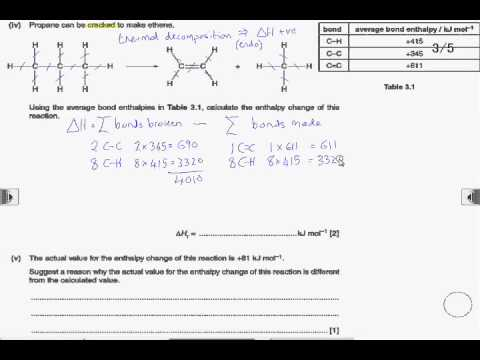 How2: Calculate energy changes using bond enthalpy