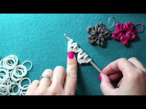 Rainbow Loom Band Flower Charm - New Loomless Design | Tutorial