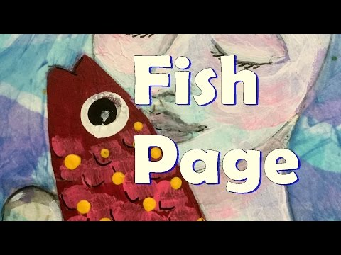 Intuitive art painting |  easy Collage Fish art Journal Page - how to paint a fish with acrylics