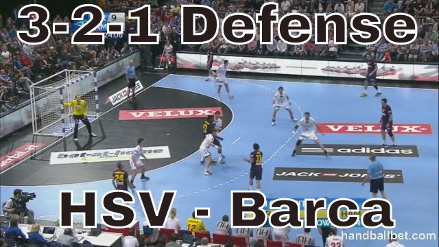 Handball 3-2-1 defense (Hsv-Barcelona final VCL 2013)