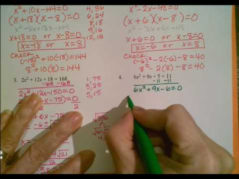 Solving Quadratic Equations Notes Part 2