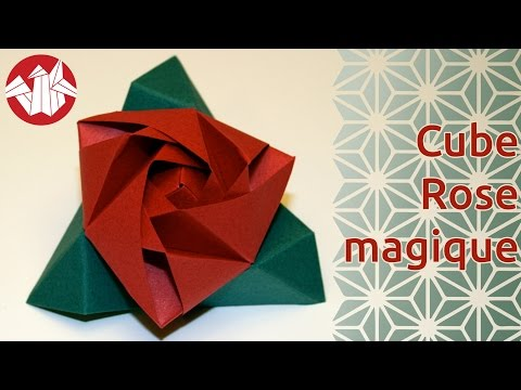Origami - Cube Rose Magique (Magic Rose Cube) de Valerie Vann [Senbazuru]
