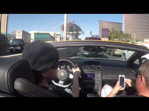 (Go Pro) Driving Lamborghini Gallardo Spyder down Las Vegas Strip & Freeway (no music just motor)