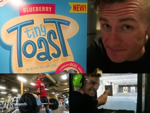 MY EATING ON CHALLENGE DAY, SHOOTING GUNS, TINY TOAST REVIEW