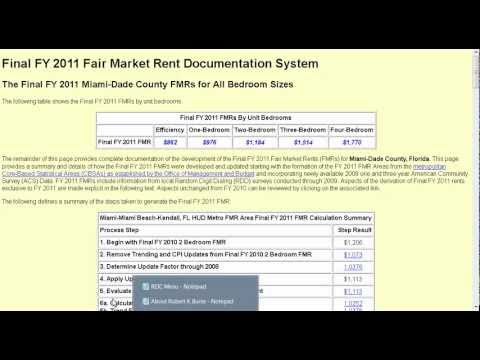 Video about calculating Fair Market Rent FMR using a HUD Section 8 tool