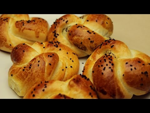 Turkish Pogaca Recipe - Knot Shaped Butter Breads with Olive Paste