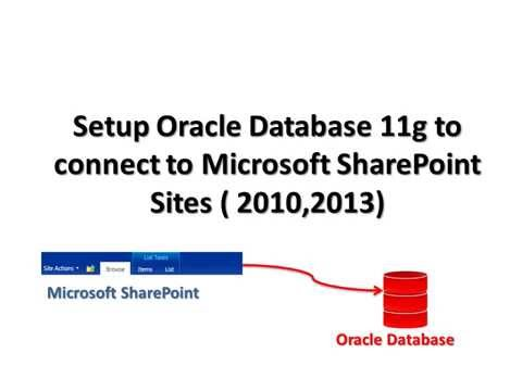 Setup Oracle Database to connect and pull data from Microsoft Sharepoint site