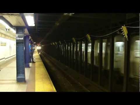 BMT Broadway Line: R160B Alstom N & Q Trains at 8th St-NYU (Brooklyn Bound)
