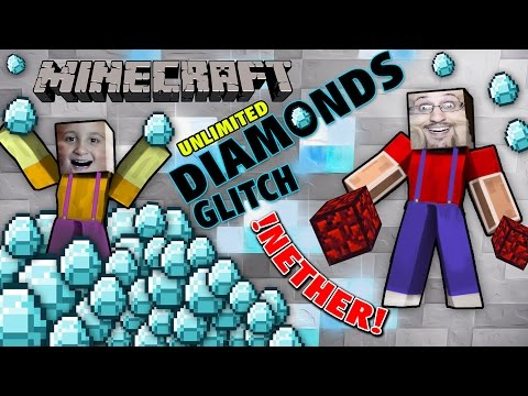 Unlimited Diamonds Glitch & Nether Reactor (Dad & Mike play Minecraft PE Duplication Trick)