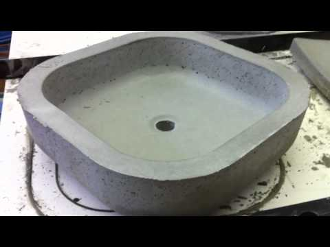 Unfinished concrete vessel sinks