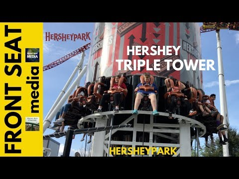 Hersheypark Triple Tower Opening Day April 8, 2017 Hershey's Tower POV HD On-Ride Launch