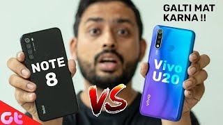 Vivo U20 vs Redmi Note 8 Full Comparison with Camera and Gaming | GALTI MAT KARNA | GT Hindi
