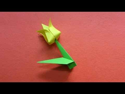 How to make a paper Tulip Flower with Stem and Leaf.
