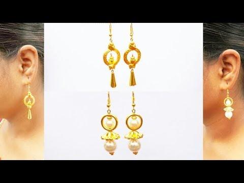 How To Make Simple And Beautiful Hanging Pearl Earrings | DIY | Beeds&Pearls Earrings |Uppunuti Home