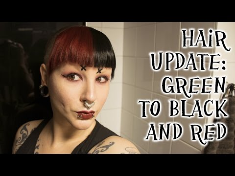 Hair update - from green to black and red