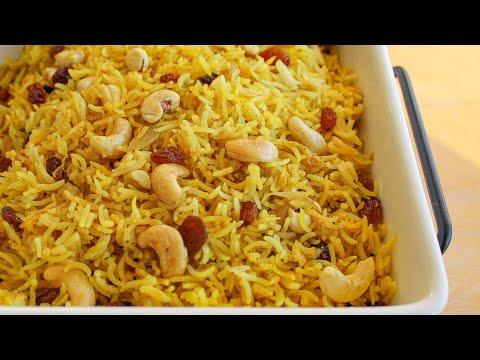 Spicy Cashew & Raisin Rice Pilaf Recipe   How to make Rice Pilaf   Vegan Rice Recipe