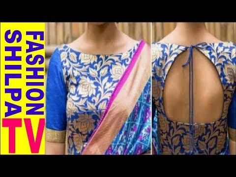 Boat Neck Blouse Cutting and Stitching    Shilpa Fashion TV     Boat Neck Back Open Blouse
