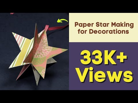 Paper Star Making for Decorations - Easy Paper Crafts for Kids