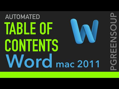 Table of Contents Automatically in Word Mac 2011