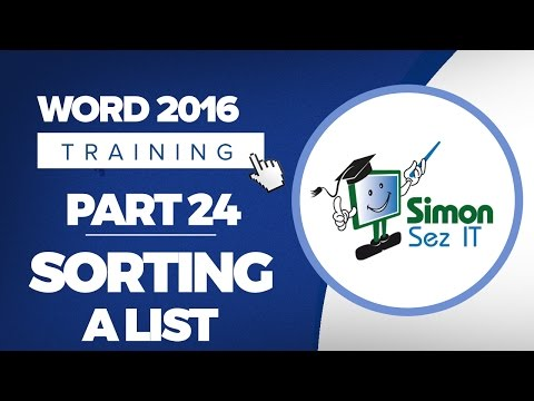 Word 2016 for Beginners Part 24: How to Sort a List in Microsoft Word 2016