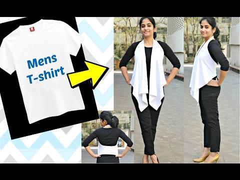 No Sew DIY: Convert Men's Tshirt to Flowy Girls' Jacket in 2 minutes