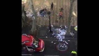 Panic as van hits pedestrians in Barcelona