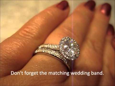KI117264-100 18k Martini Style Diamond Halo Blue Sapphire Engagement Ring