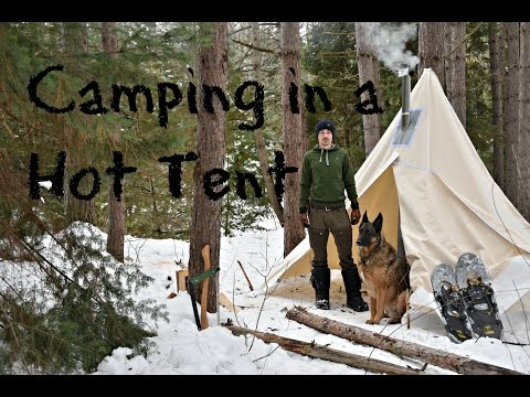 Winter Camping in a Canvas Tent with a Dog and a Woodstove.