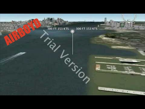US Airways 1549 Google Earth Fly Over Example Animation