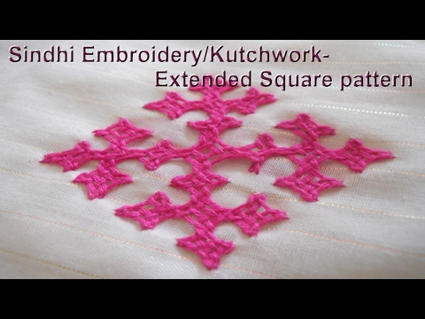 Sindhi Embroidery/Kutch work Extended square pattern