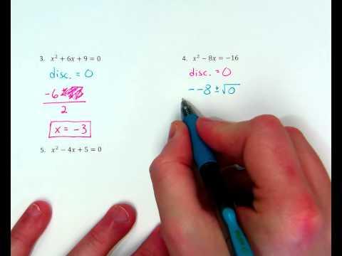 Quadratic Formula ex. 4 (one real solution)