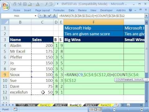 Excel Magic Trick 337: RANK function 10 Examples