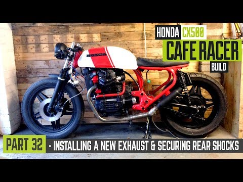 Honda CX500 Cafe Racer Build 32 - Installing the new exhaust & mounting the rear shocks