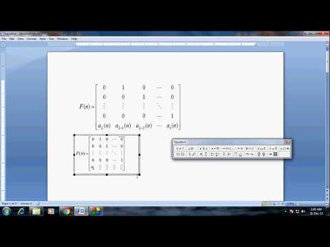 How to type larger size matrix 5 by 5 in MS word
